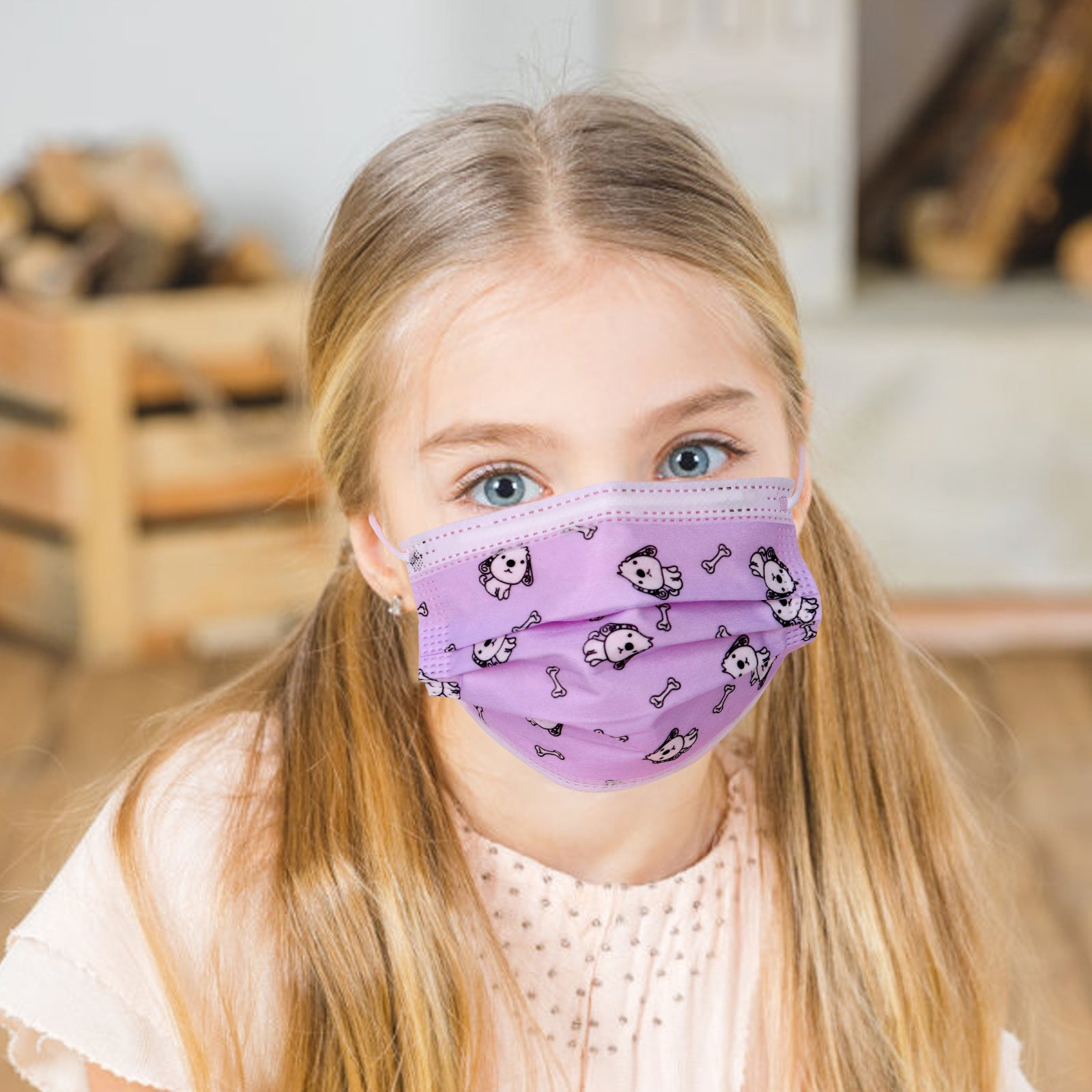 KD-FMPP  American Bling Kids 3 Ply Disposable Purple Dogs & Bones Face Mask Non-Medical (5pcs/Pack)