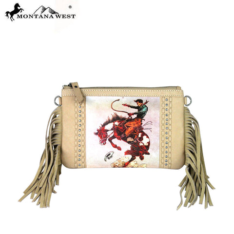 RLC-L046 Montana West 100% Real Leather Rodeo Collection Fringe Clutch
