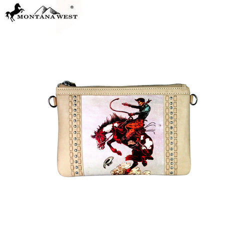 RLC-L047 Montana West 100% Real Leather Rodeo Collection Clutch