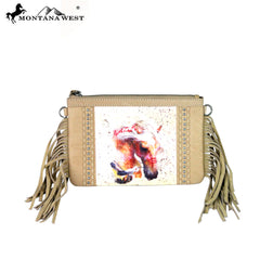RLC-L048 Montana West 100% Real Leather Rodeo Collection Fringe Clutch