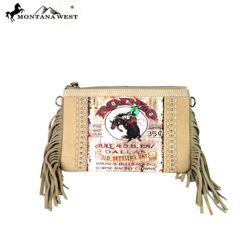 RLC-L050 Montana West 100% Real Leather Rodeo Collection Fringe Clutch