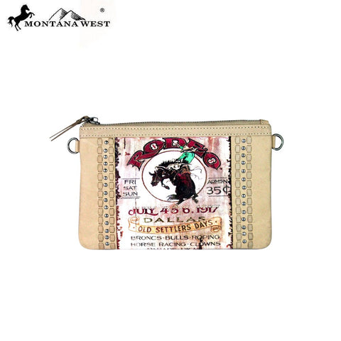 RLC-L051 Montana West 100% Real Leather Rodeo Collection Clutch
