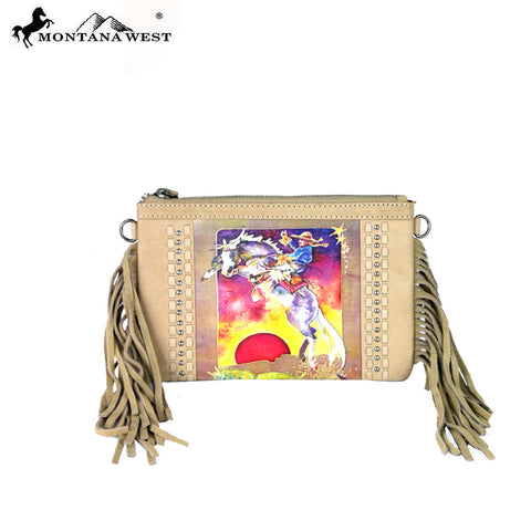 RLC-L054 Montana West 100% Real Leather Rodeo Collection Fringe Clutch