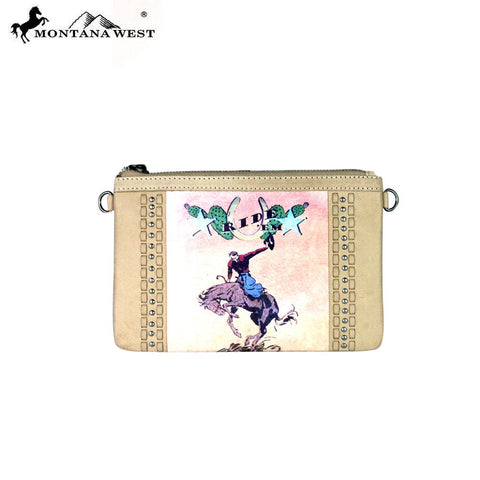 RLC-L057 Montana West 100% Real Leather Rodeo Collection Clutch