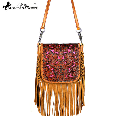 RLC-L084 Montana West 100% Real Leather Tooled Crossbody