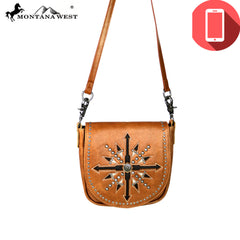 RLC-L091P Montana West Phone Charging Real Leather Crossbody