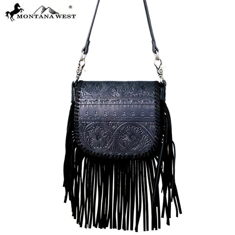 RLC-L099 Montana West Real Leather Fringe Crossbody