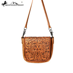 RLC-L105 Montana West 100% Real Leather Tooled Crossbody