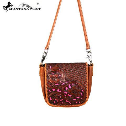 RLC-L106 Montana West 100% Real Leather Tooled Crossbody