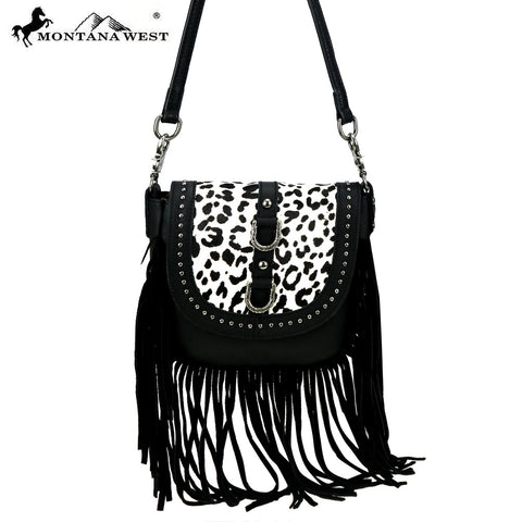 RLC-L107 Montana West Real Leather Fringe Crossbody