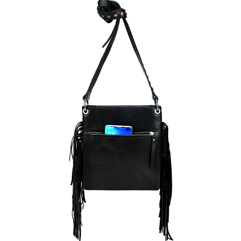 RLC-L128 Montana West Real Leather Fringe Shoulder/Crossbody Bag