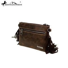 RLH-018 Montana West Hair-On Cowhide Leather Fringe Clutch/Crossbody