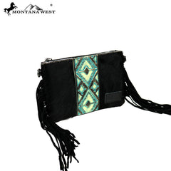 RLH-022 Montana West Hair-On Cowhide Leather Fringe Clutch/Crossbody