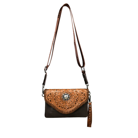 RLL-001 Montana West 100% Genuine Leather Tooled Collection Clutch/Crossbody