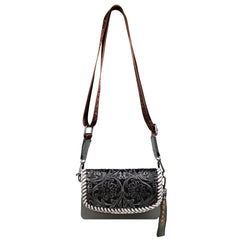 RLL-004 Montana West 100% Genuine Leather Tooled Collection Clutch/Crossbody