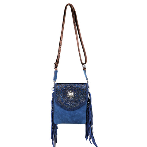 RLL-005 Montana West 100% Genuine Leather Tooled Collection Crossbody