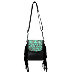 RLL-008 Montana West 100% Genuine Leather Tooled Collection Crossbody