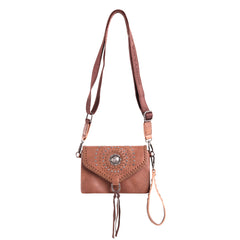 RLL-013 Montana West 100% Genuine Leather Concho Collection Crossbody/Wristlet