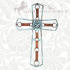 RSD-059 Montana West Western Cutout Star Cross with Horseshoe in the middle 27""