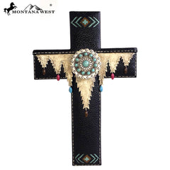 RSD-1636 Montana West Black Silver Turquoise Stone Concho Resin Texture Wall Cross 11.5""