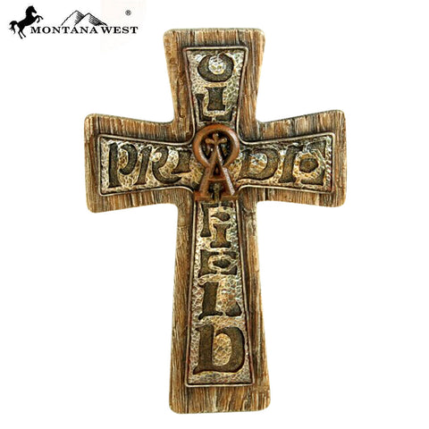 RSD-1649 Montana West Turquoise Stone OilFiled Pride Resin Texture Wall Cross 12""