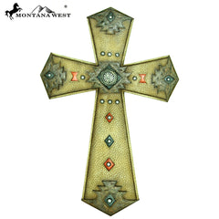 RSD-1920 Montana West Leather-Like Aztec Resin Wall Cross 14""