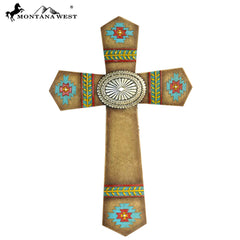 RSD-370  Montana West Tribal Aztec Wall Cross 12""