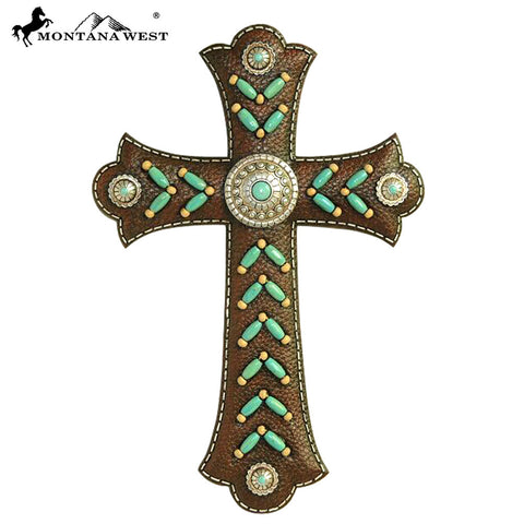 RSD-377 Montana West Coffee Color Faux Leather Resin Wall Cross 12""