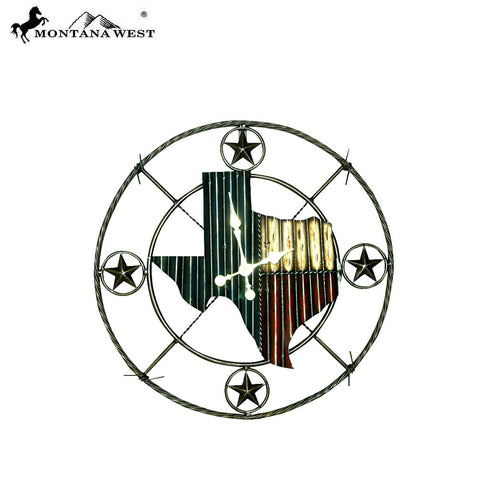 RSM-1783 Montana West Western Star Texas State Metal Rustic Wall Clock