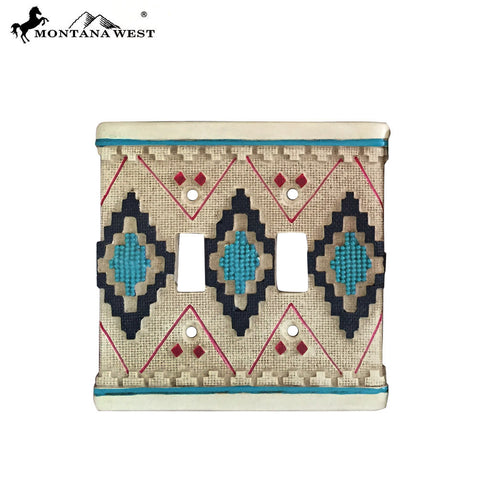 RSM-1834 Montana West Aztec Pattern Double Switch Plate Cover By Piece