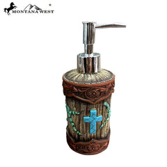 RSM-1870 Montana West Wood Like Tooled Leather Resin Soap/Lotion Dispenser