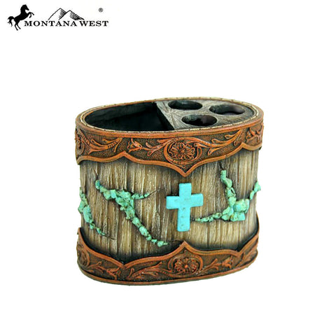 RSM-1871 Montana West Wood-Like Tooled Leather Resin Toothbrush Holder