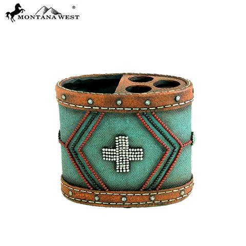 RSM-1878 Montana West Leather-Like Aztec Pattern ResinToothbrush Holder