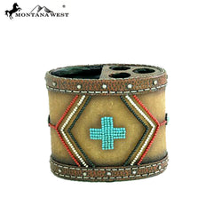 RSM-1879 Montana West Leather-Like Aztec Design Resin Toothbrush Holder