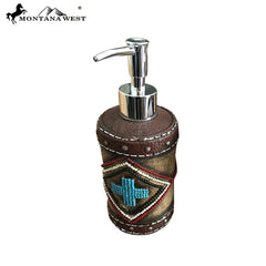 RSM-1881 Montana West Leather-Like Aztec Design Resin Soap/Lotion Dispenser
