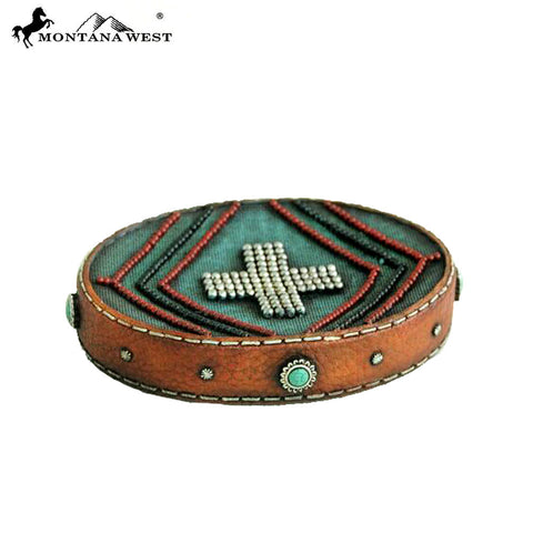 RSM-1882 Montana West Letaher-Like Aztec Design Turquoise Color Resin Soap Dish