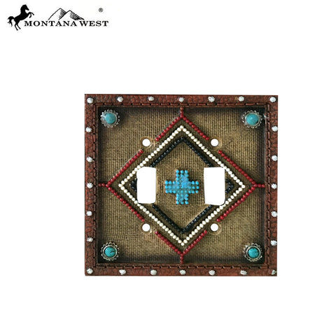 RSM-1888 Montana West Leather-Like Aztec Design Double Switch Plate Cover By Piece