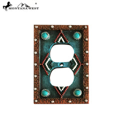 RSM-1893 Montana West  Leather-Like Turquoise Color Double Switch Plate By Piece