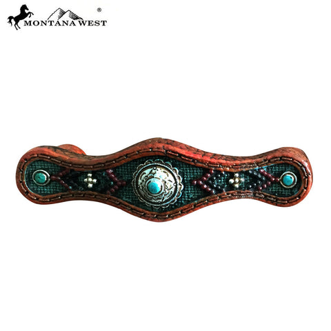 RSM-1894 Montana West Leather-Like Aztec Design Turquoise Color Resin Drawer Knob-Set of 4