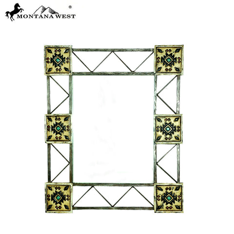 RSM-1912 Montana West Southwest Aztec Metal Frame Wall Mirror