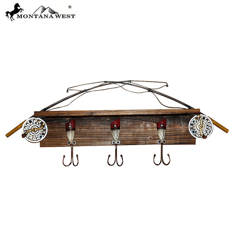 RSM-1979 Montana West Fishing Rod Wood Coat Rack