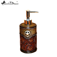 RSM-1983 Montana West Lonestar Tooled Leather Resin Soap/Lotion Dispenser