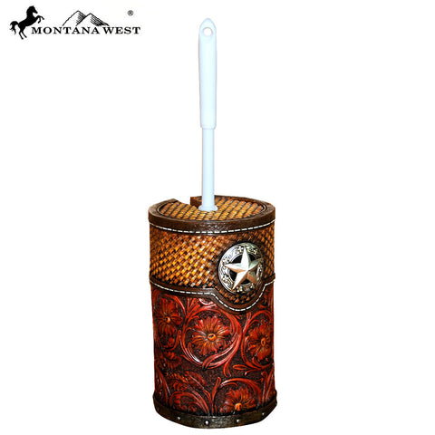 RSM-1986 Montana West Lonestar Floral Tooled Resin Toilet Brush Holder