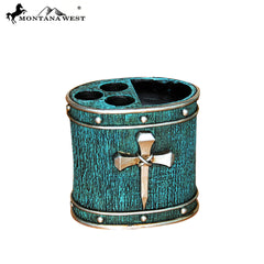 RSM-1989 Montana West Silver Nail Cross Turquoise Resin Toothbrush Holder