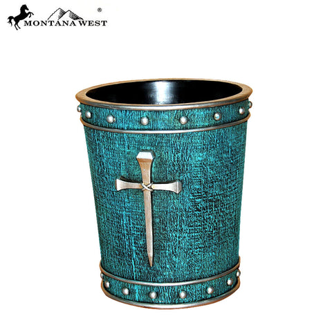 RSM-1996 Montana West Silver Nail Cross Turquouise Trash Can