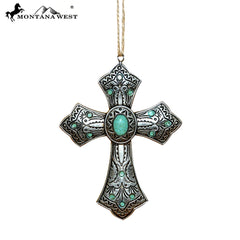 RSM-2002 Montana West Silver Cross Resin Ornament