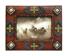 RSP-1621 Montana West Beaded and Multi Crosses Resin Texture Brown Color Photo Frame