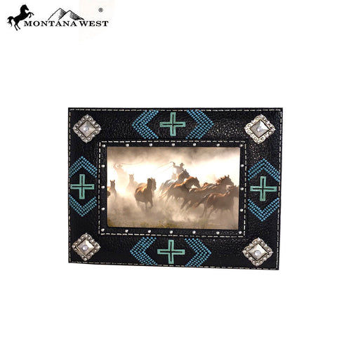 RSP-1624 Montana West Beaded and Multi Crosses Resin Texture Black Color Photo Frame