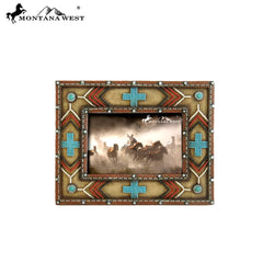 RSP-1626  Montana West Aztec and Multi Crosses Resin Texture Beige Color Photo Frame