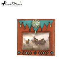 RSP-1629 Montana West Turquoise Stones Concho Resin Texture Brown Color Photo Frame